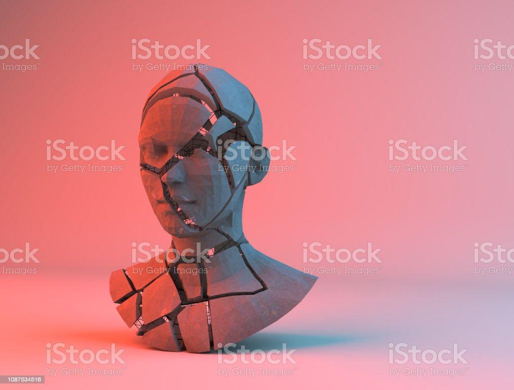 Broken alabaster head