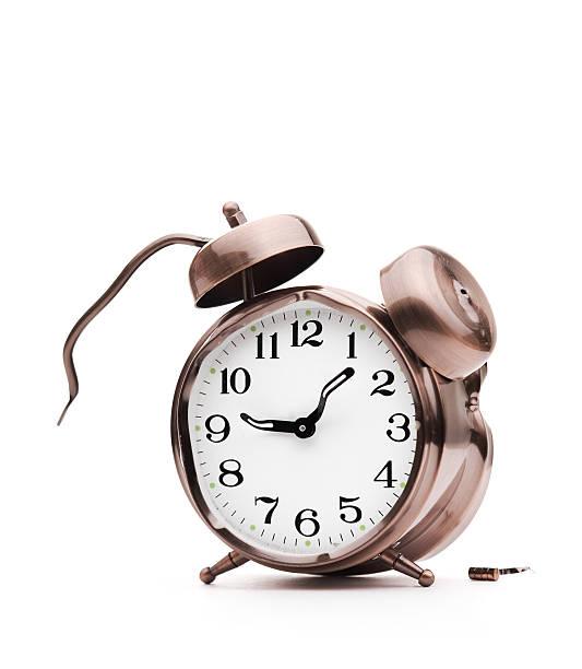 Broken Alarm Clock. stock photo