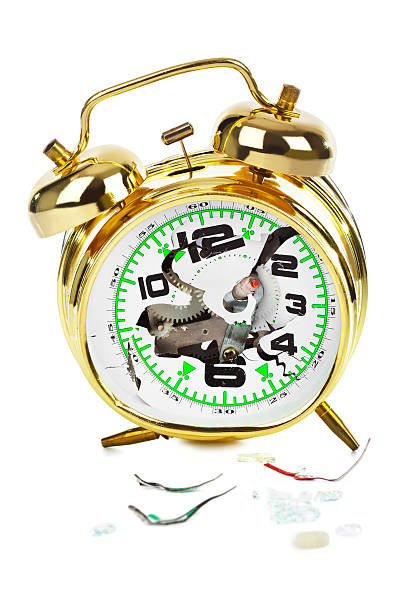 Broken alarm clock stock photo