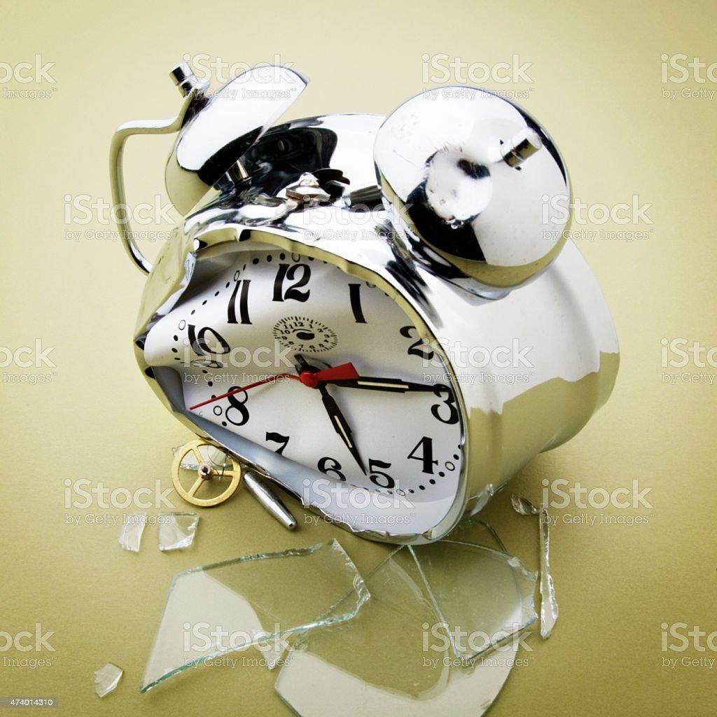 Broken alarm clock with no people. stock photo