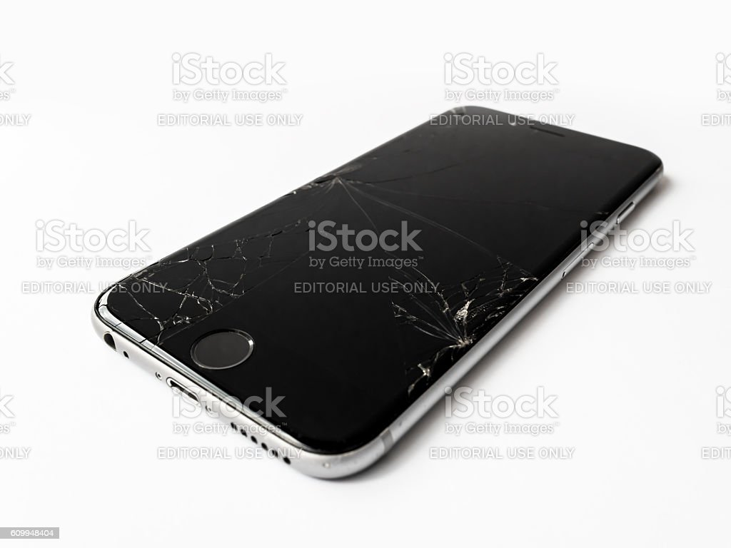 Broken Apple iPhone 6 with cracked screen stock photo