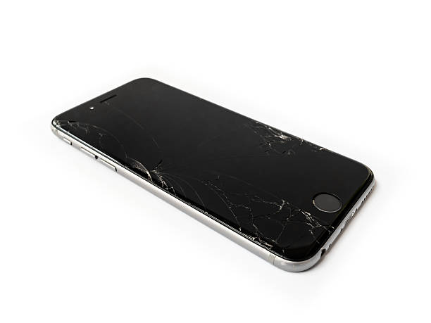 Broken Apple iPhone 6 with cracked screen stock photo