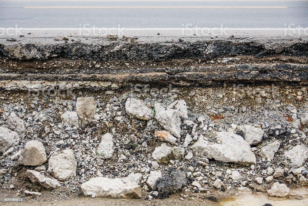 broken asphalt road stock photo