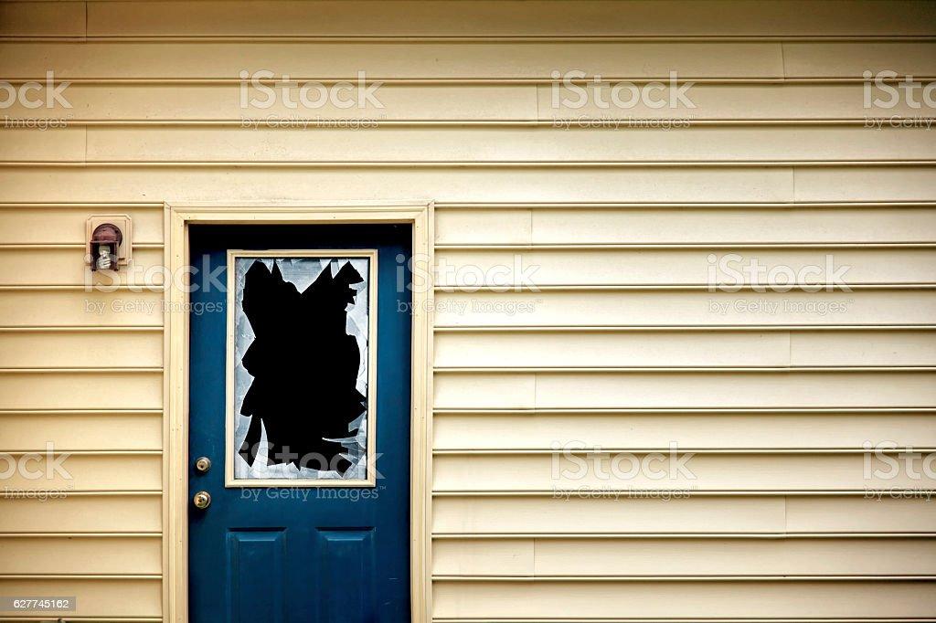 broken backdoor window glass stock photo