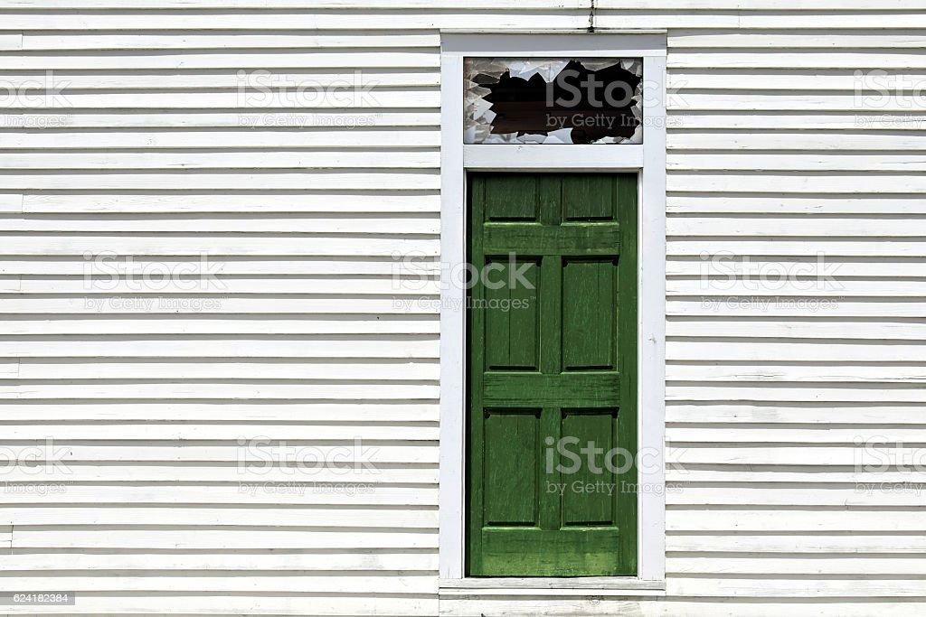 broken backdoor window stock photo
