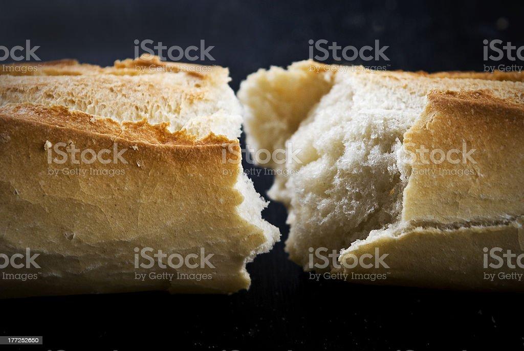 broken baguettes stock photo