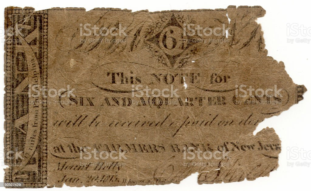 Broken Bank Note from New Jersey royalty-free stock photo