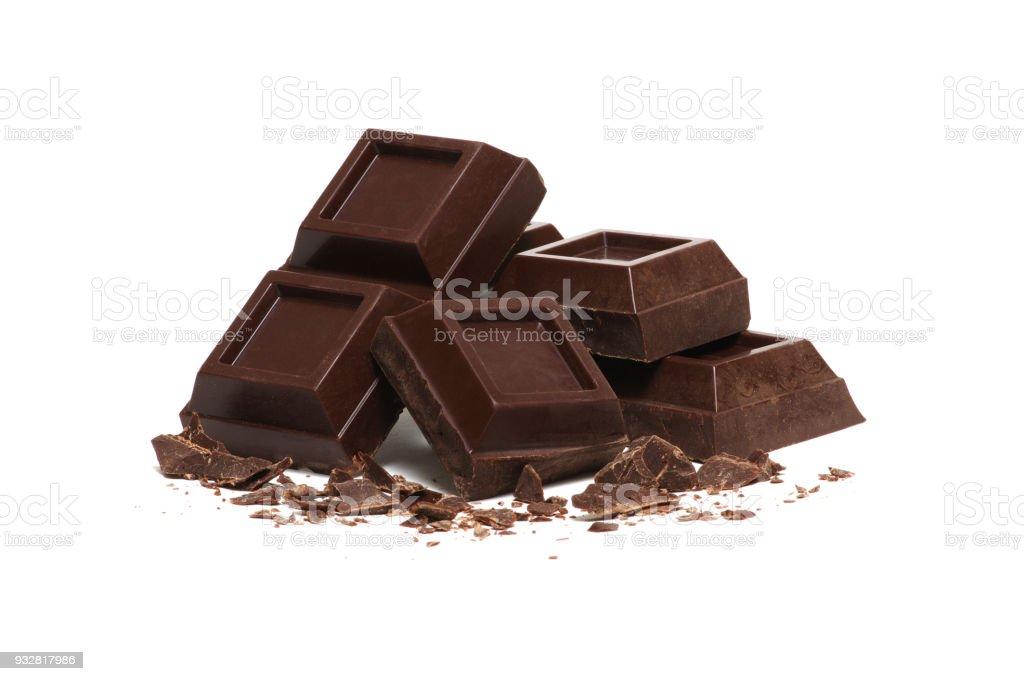 quebrado a barra de chocolate escuro - foto de acervo
