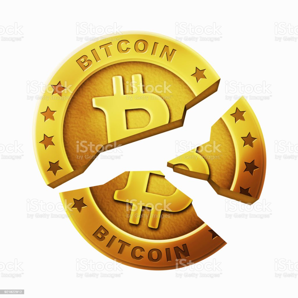 Broken bitcoin image stock photo