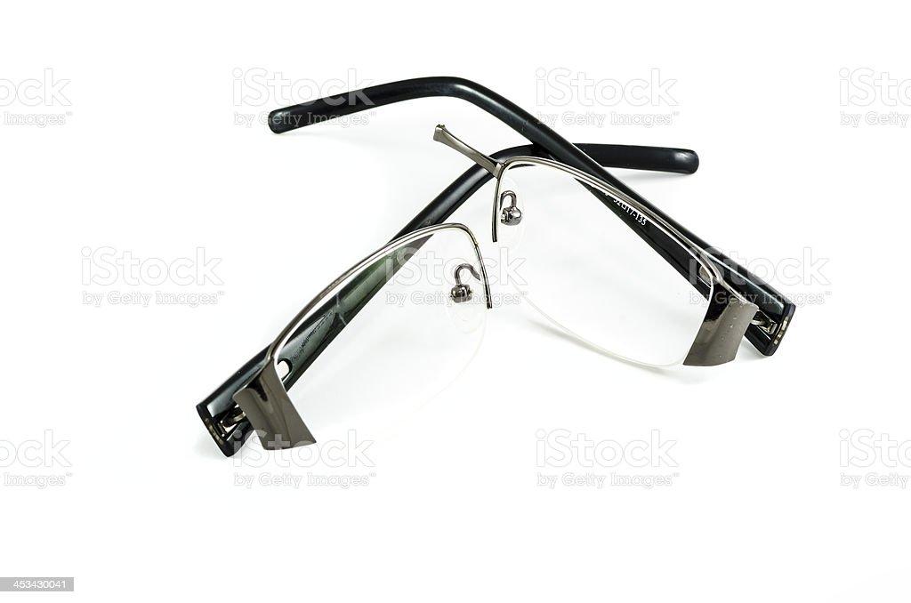 Broken black glasses stock photo