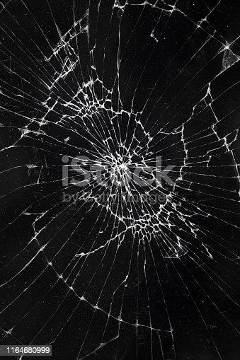 broken black monitor of the smartphone