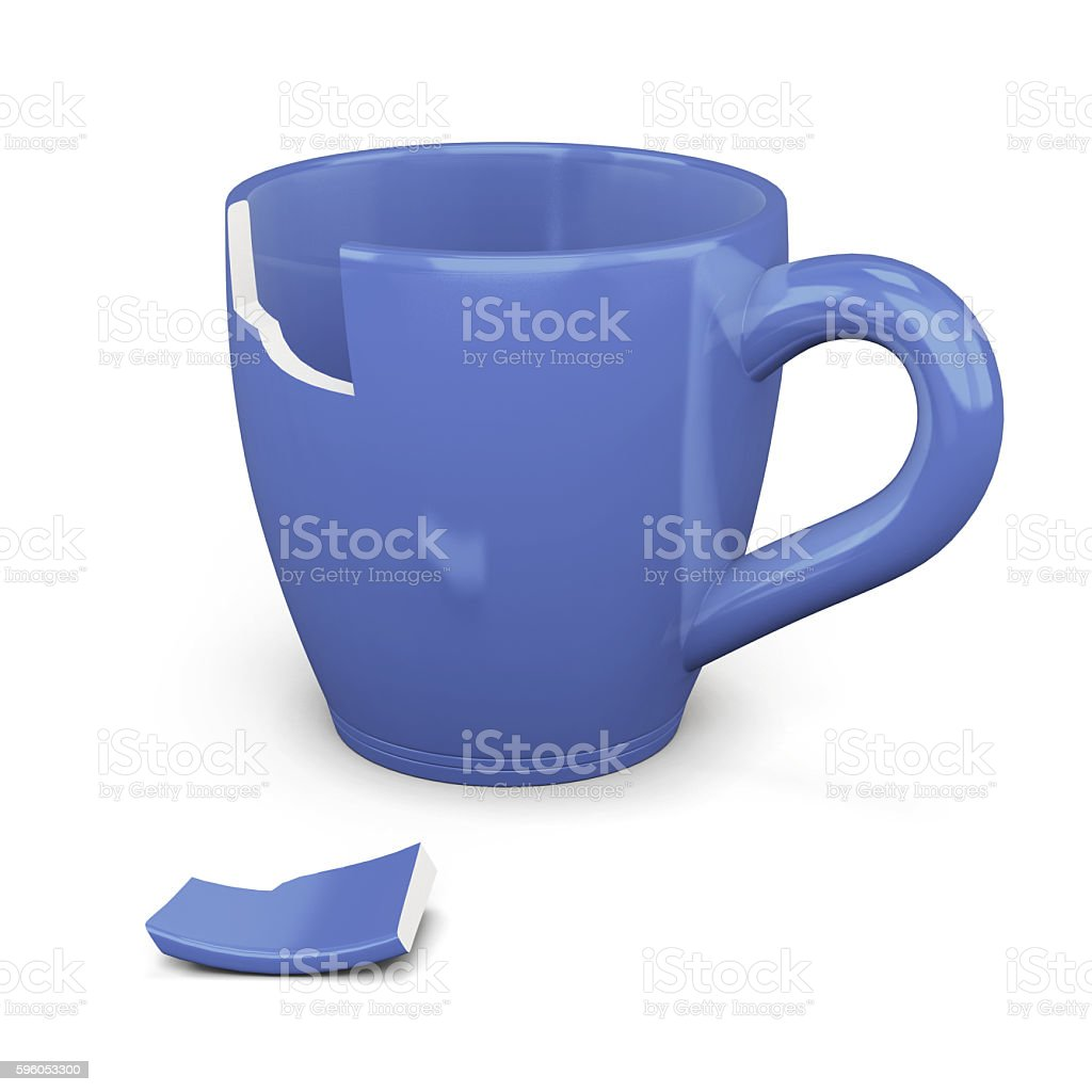 Broken blue cup isolated on white background. 3d rendering royalty-free stock photo