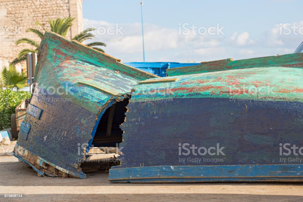 Broken boat, Essaouira, Morocco royalty-free stock photo