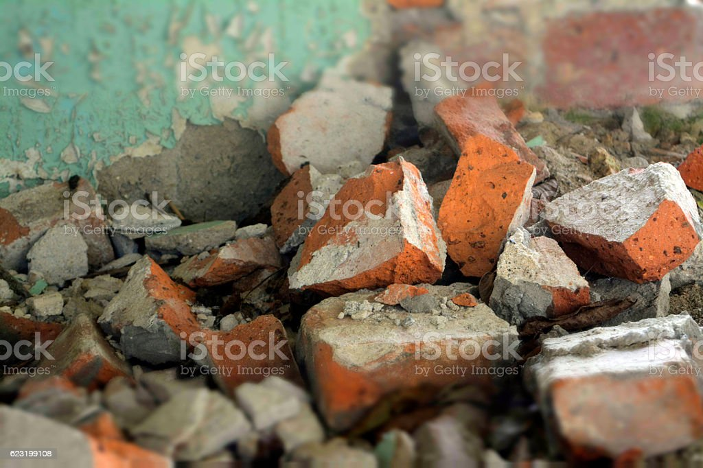 broken brick stock photo