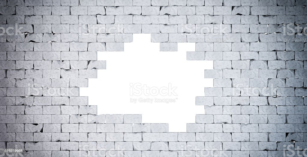 Broken Brick Wall. Isolated. Contains clipping path stock photo