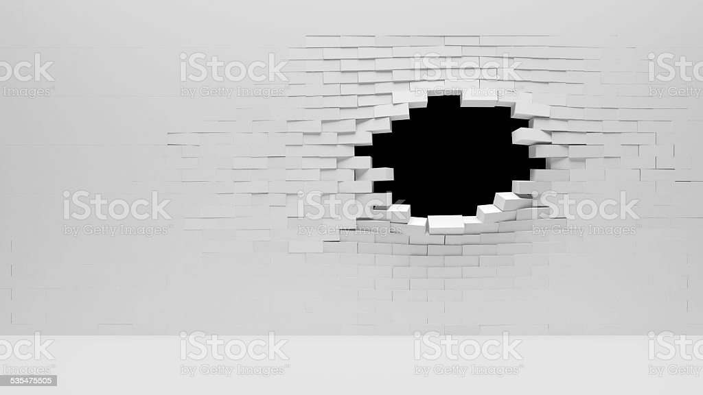 Broken Brick Wall isolated on black background stock photo