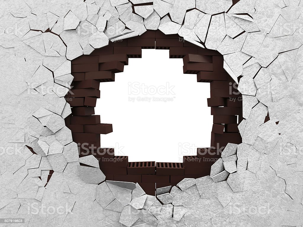 Broken Brick Wall isolated on white background stock photo
