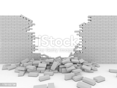 Broken wall, isolated on white