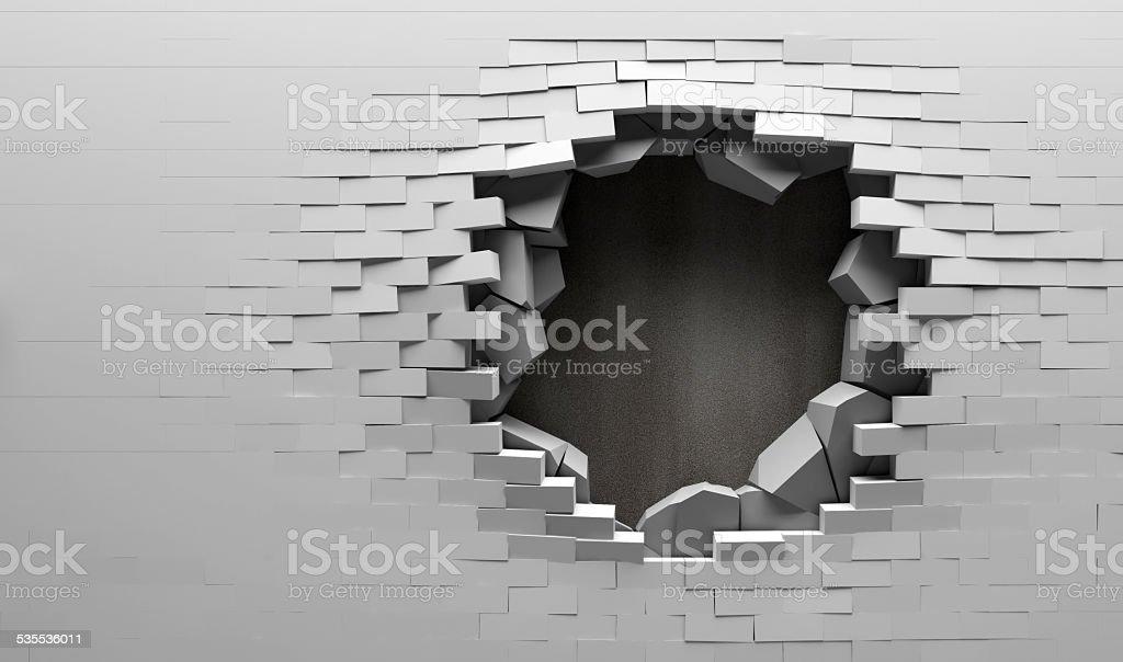 Broken Backstein Mauer mit Metallplatte hinter – Foto