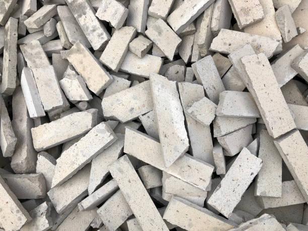 Broken bricks stock photo