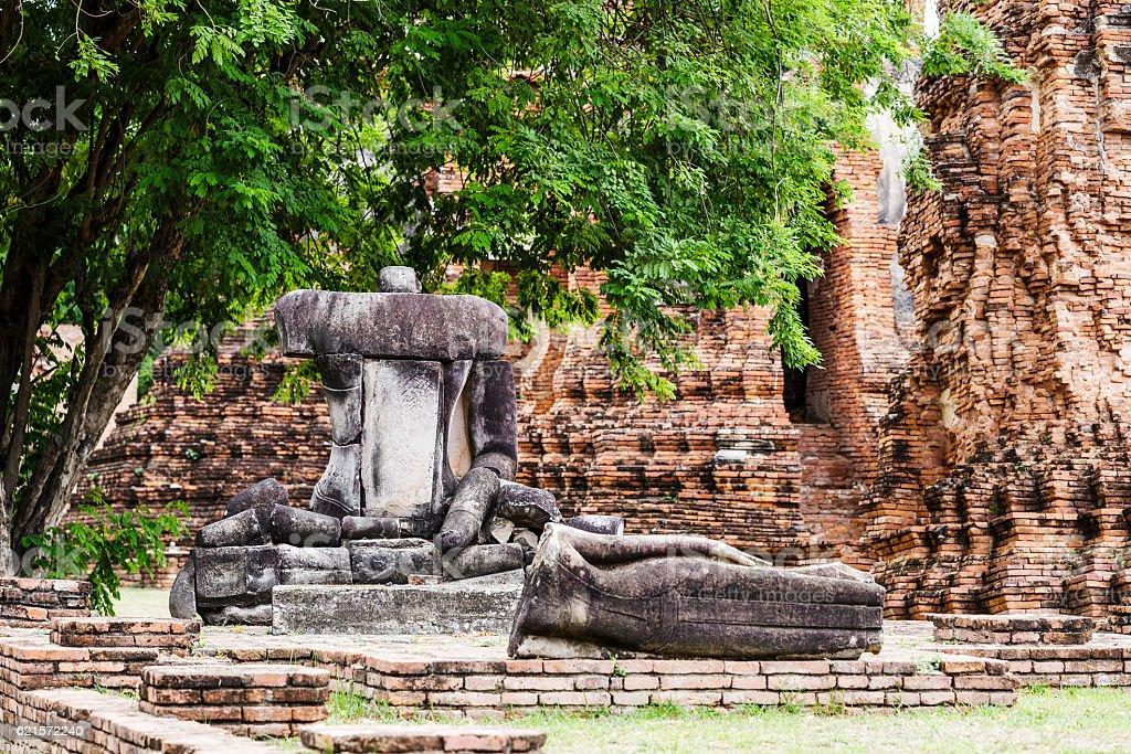 Broken buddha at Ayuttaya, Thailand photo libre de droits