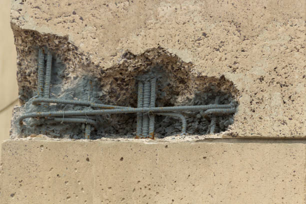 Broken Building rebar stock photo