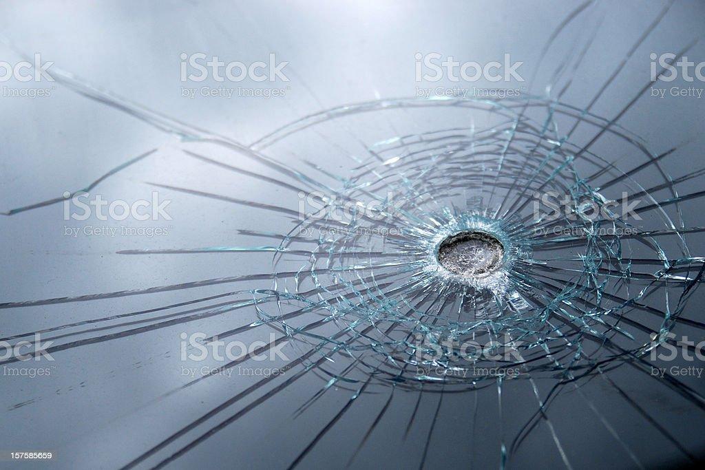 Broken bulletproof glass royalty-free stock photo