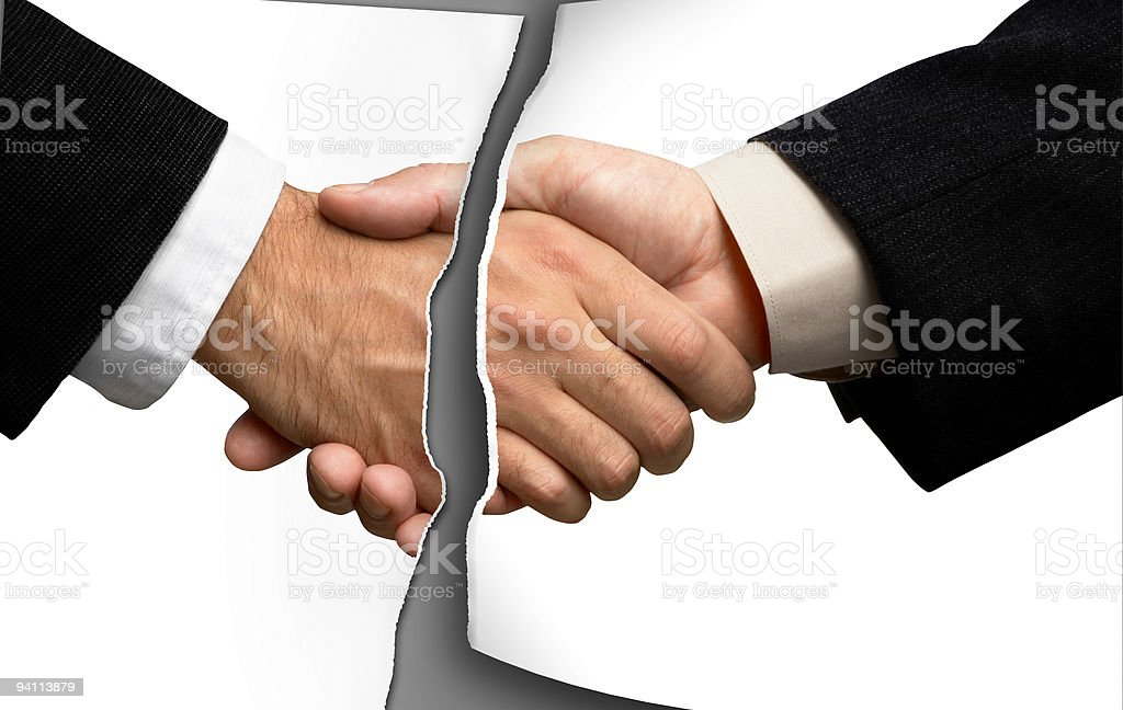 Broken business handshake stock photo