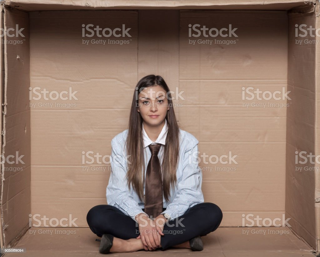broken business woman has no job, an unemployed student stock photo
