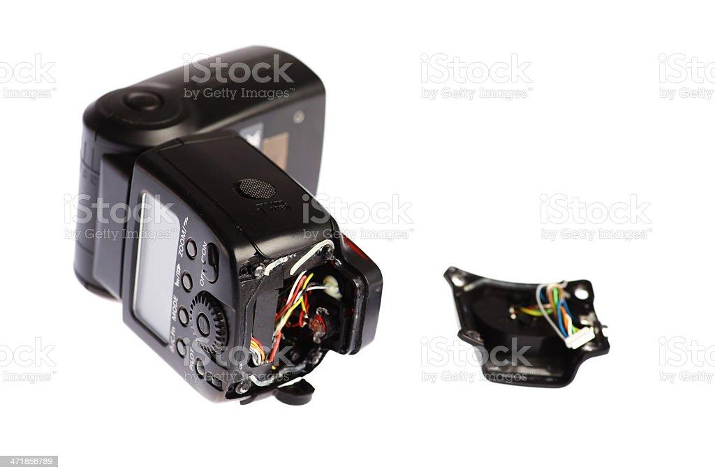Broken camera flash stock photo