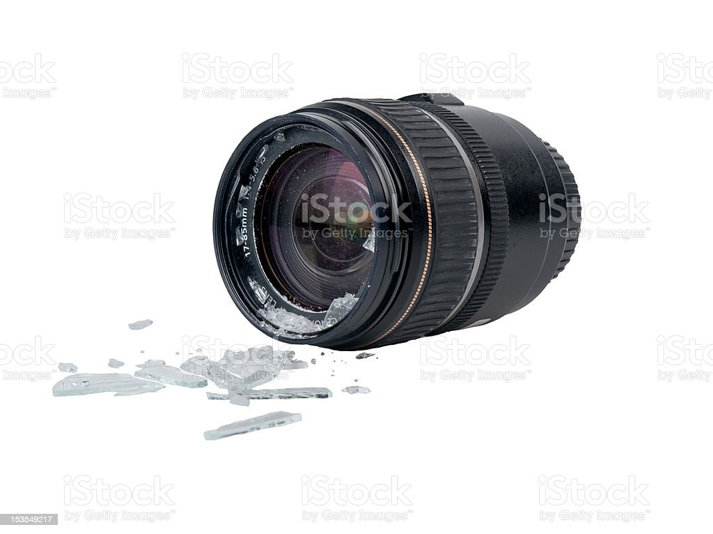 Broken camera lens stock photo