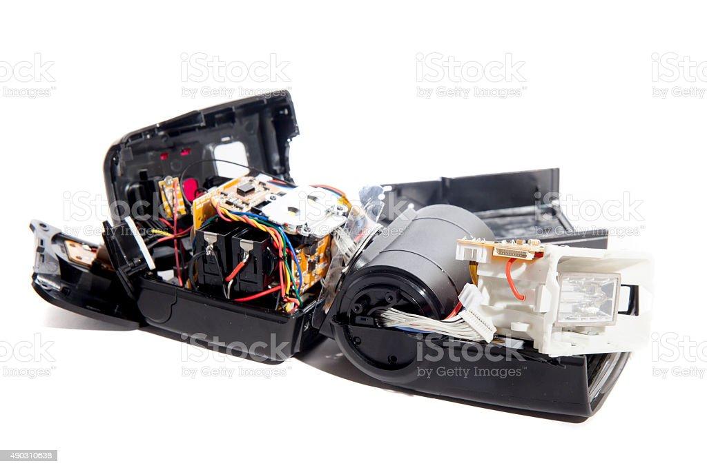 Broken Camera Speedlight Flash Gun stock photo