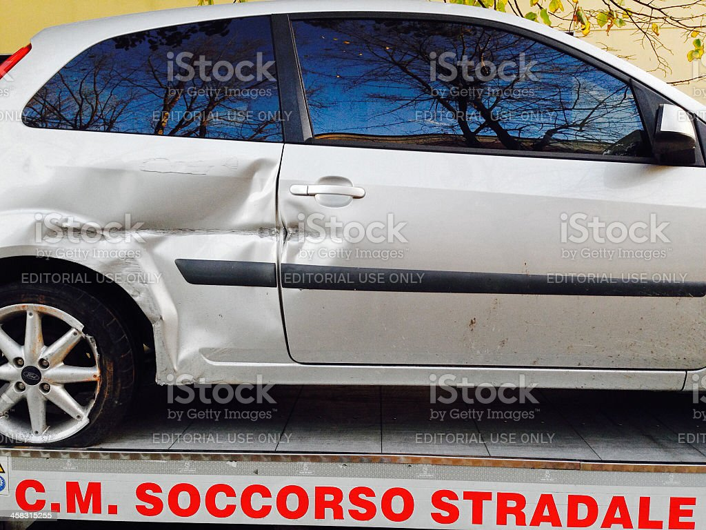 Broken car and Breakdown service - Roadside assistance royalty-free stock photo