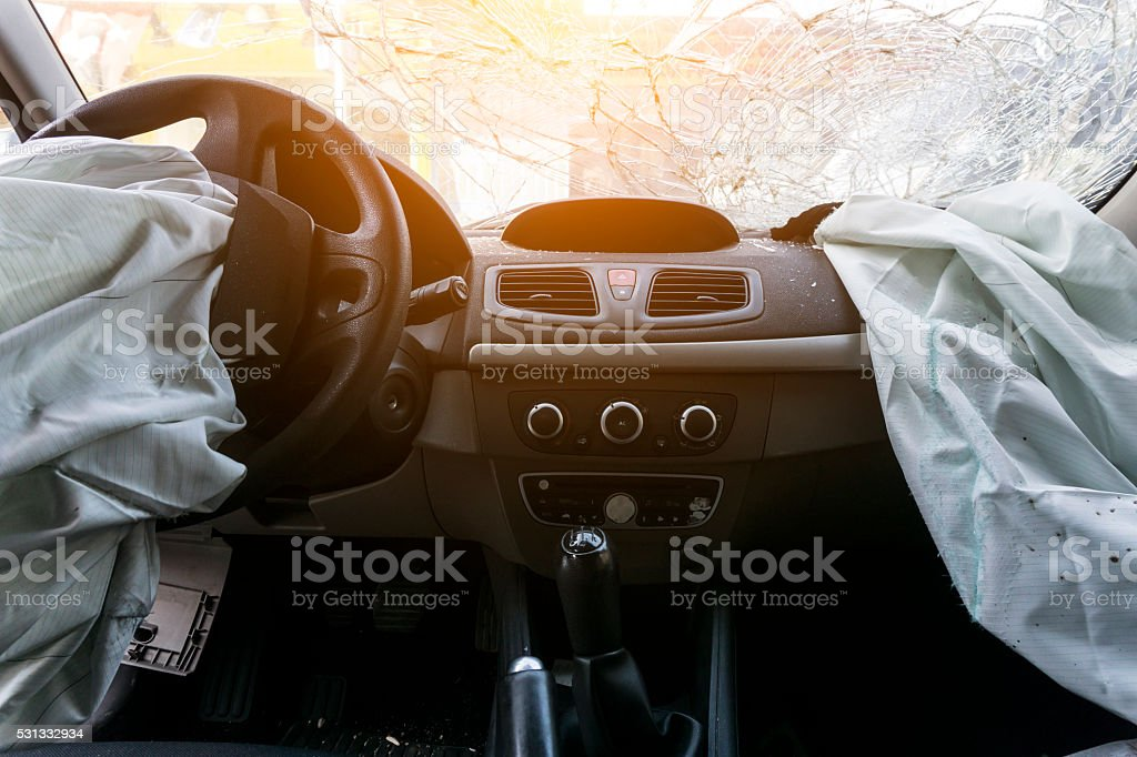 Broken Car Dashboard stock photo