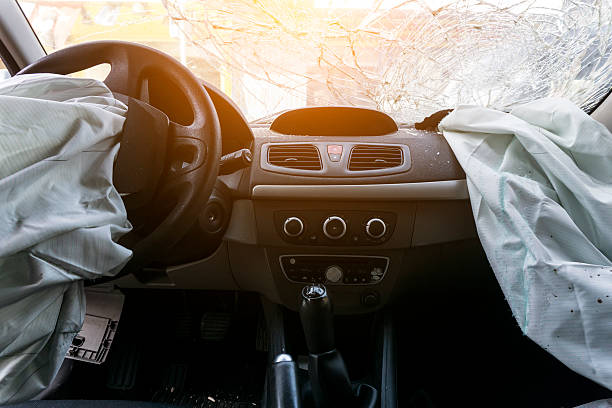 broken car dashboard - car accident stock photos and pictures