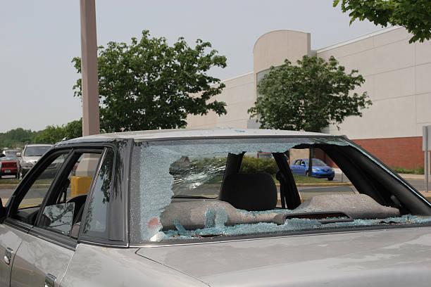 Broken car rear window after vandalism stock photo