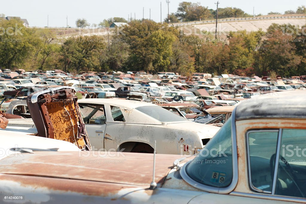 Broken Cars At Junkyard Stock Photo & More Pictures of Backgrounds ...