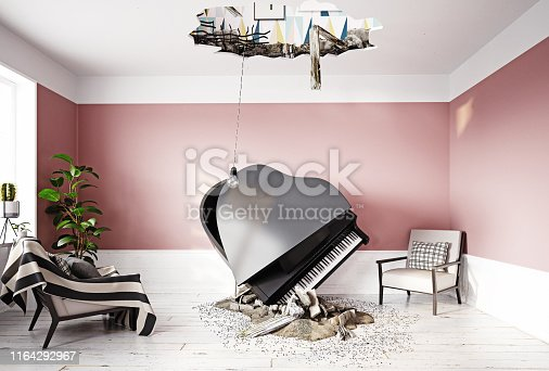 1164292968 istock photo broken ceiling and falling piano 1164292967