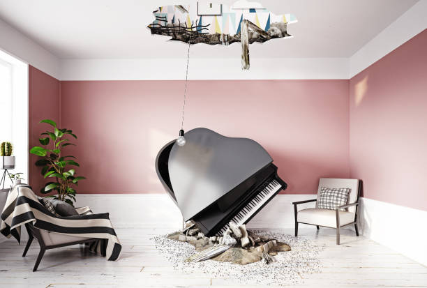 broken ceiling and falling piano stock photo