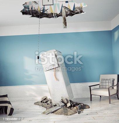 1164292968 istock photo broken ceiling and falling refrigerator 1193468817
