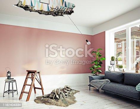 1164292968 istock photo broken ceiling in the room. 1162404334