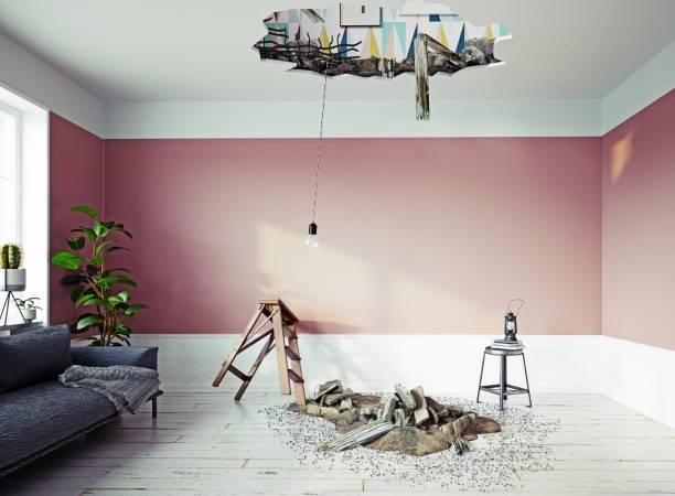 broken ceiling in the room. stock photo