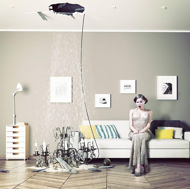broken ceiling in the room - alten kronleuchter stock-fotos und bilder