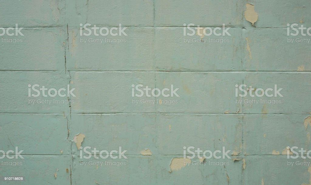 Broken cement block wall. stock photo
