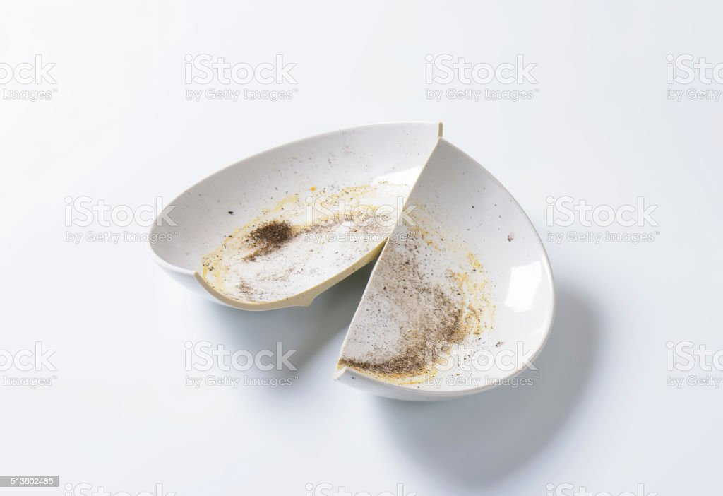 Broken ceramic bowl stock photo