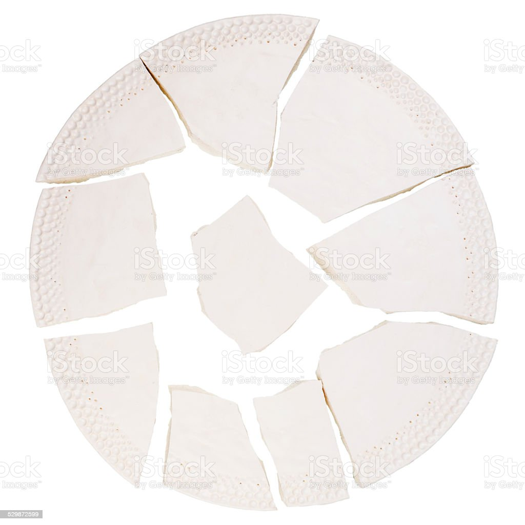 Broken ceramic plate stock photo