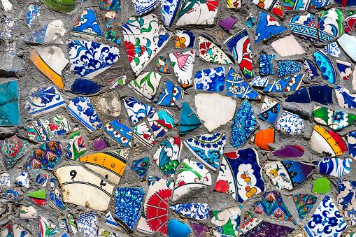 broken ceramic plates colored fragments