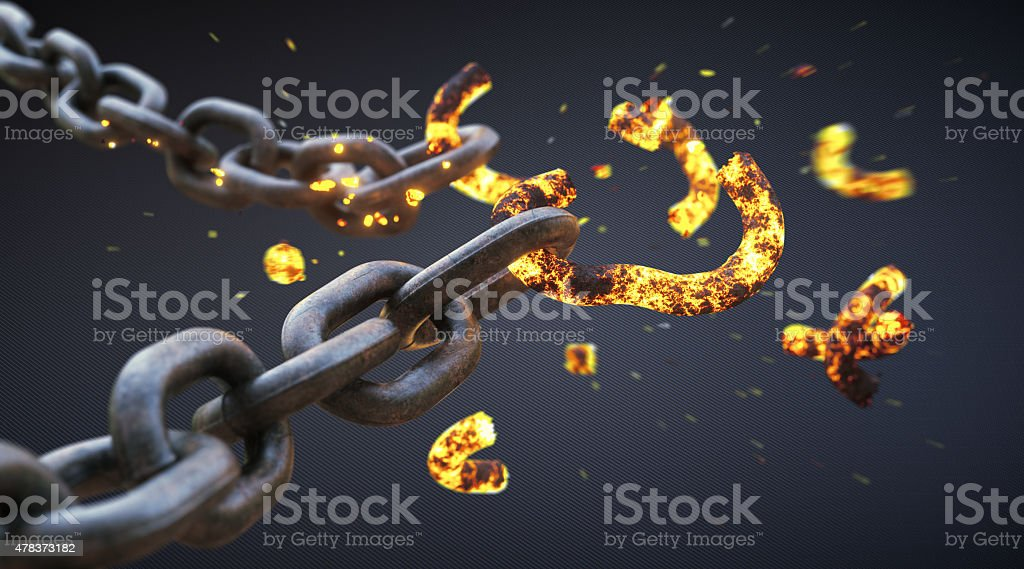 Broken Chain A14 stock photo