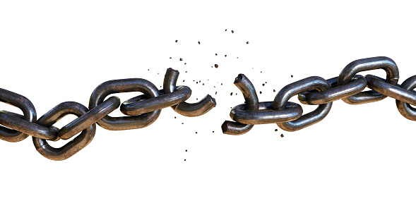 A rugged chain in the process of breaking. One of the links has shattered in two pieces, with fragments flying off. The chain is positioned on a pure white background.