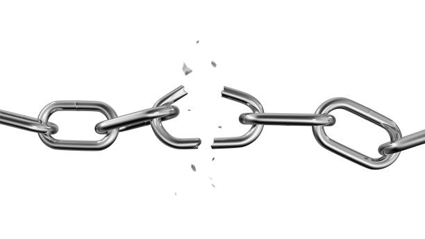 Broken chain. Freedom concept. 3d illustration. Broken chain isolated on white background. Freedom Concept. 3d illustration. breaking stock pictures, royalty-free photos & images